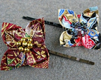 Pair of Red, Gold, and Blue Origami Flower Hair Pins