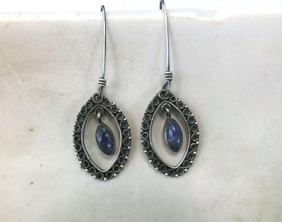 Marekka Earrings---Lapis Lazuli and Engraved Sterling Silver Drop Earrings
