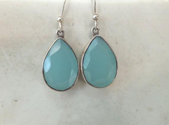 Sterling Silver Blue Opal Drop Earrings in Teardrop