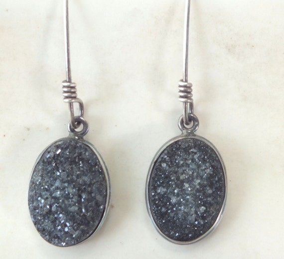Grey Drusy Drop Earrings----Gray Druzy Drop Earrings