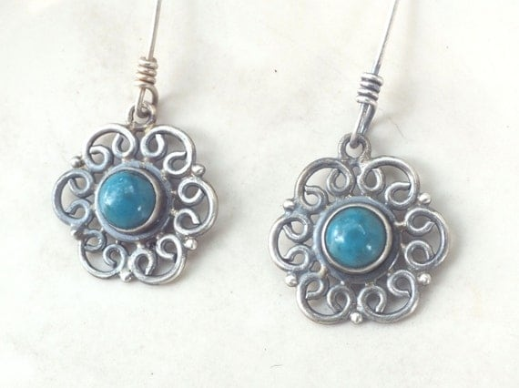 Turquoise and Filigree Sterling Silver Drop Dangle Earrings with Antique Finish