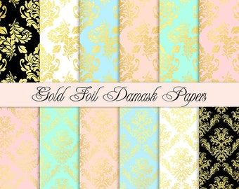 Gold foil digital paper Gold digital paper Gold wedding digital paper gold damask digital paper Gold paper Printable paper
