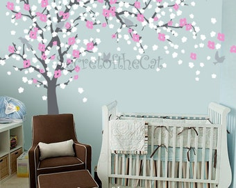 Nursery Wall Decal  Blossom Tree Decal   Baby Tree Wall Decals   Wall  Decals Nursery Part 41