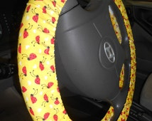 Ladybug Steering Wheel Cover, Yellow Car Decor, Car Accessory, Red Ladybugs and Hearts Fabric Steering Wheel Cover, Yellow Car Cover