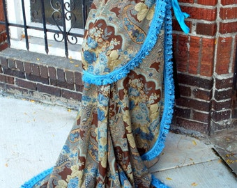 Blue and Brown Bustle Skirt.