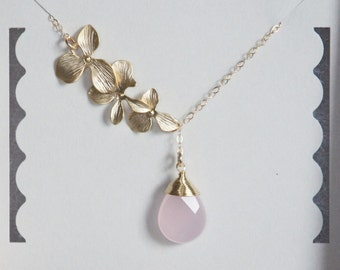 Pink Stone Necklace, Gold Orchids, Gold Filled Necklace, Lariat Necklace, Birthday Gift, Gift for Her, Bridesmaid Gift, Made in USA