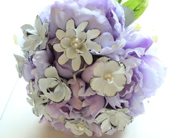 Purple & White Brooch Bouquet | Hand Made in the USA In Stock Lavender Broach Bouquet Black White Enamel Flowers Ready To Ship 1000670 SALE