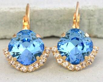Blue Drop Earrings,Ocean Blue Swarovski Earrings,Aquamarine Crystal Earrings,Bridesmaids Gifts,Bridal Crystal Earrings,Blue Sky Earrings