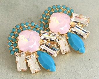 Pink Opal EarringsSwarovski Clusters, Cotton Candy Turquoise Big Earrings,Trending Jewelry,Bridal Pink Turquoise Swarovski Crystal Earring