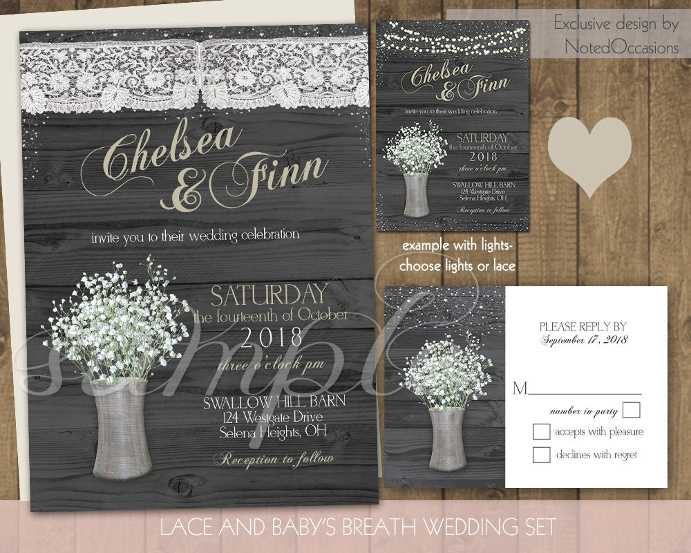 Rustic Lace Wedding Invitations Suite Romantic By NotedOccasions