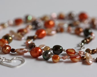 Long Mixed Freshwater Pearl Necklace With Sterling Silver Heart Clasp