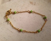 Green Bracelet - Green Jewelry - Chain Jewelry - Gold Jewellery - Dainty - Fashion - Gift