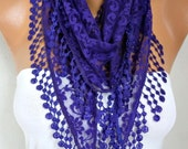 Purple Lace Scarf Summer Scarf Shawl Cowl Scarf Bridesmaid Gift Gift Ideas For Her Women's Fashion Accessories