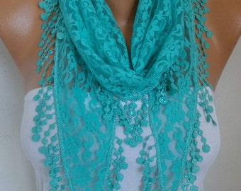 Mint  Lace Scarf, Fall Fashion Scarf, Shawl,Cowl Scarf, Bridesmaid Gift Gift Ideas For Her, Women's Fashion Accessories