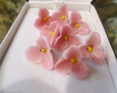 40s lovely PINK glass flower FINDINGS for necklace, buttons or crafts