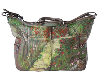 Hand Painted Large Leather Tote The Garden Path