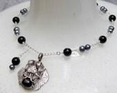 OOAK ---Vintage 925 Dragon Pendant with Black STAR Diopside-Freshwater Peacock Pearls - Sterling Silver--- Black ONYX--handmade