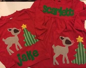 Christmas Dress Shirt Set - Brother Sister Sibling Set -  Christmas Applique Outfits- Reindeer Tree