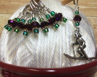 Skier Stitch Marker Set - Snag Free Purple & Green Beaded Knitting Markers -Gifts for Knitters