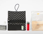 Rolling tobacco pouch handmade fabric Pixel Wave