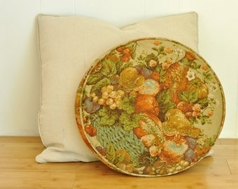 Round Vintage Pillow 1940's Pheasant, Fruit & Flowers in Muted Orange, Yellow, Gold, Green and  Turquoise Autumnal Colors