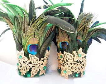 Emerald Peacock Feather Cuffs Gothic Wings Adult Unisex Arm Bands