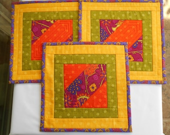 QUILTED MugRugs SNACK MATS or Candle Mats.  Set of 3 measuring 10 1/2 inches square.  Fabrics from Studio E designer B.K. Lantz