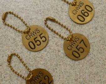 Vintage Brass Number Tag