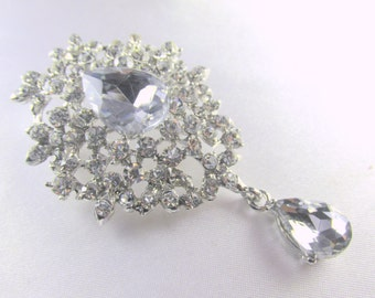Large Crystal Clear Teardrop Vintage Style Brooch in antique silver for brooch bouquet or jewelry decor