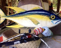 "Yellowfin Tuna 36""  nautical home decor wooden fish wall mount chainsaw carving Tuna sculpture beach house art indoor outdoor centerpiece"