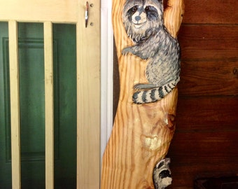 """Raccoons in Tree 43"""" chainsaw wood raccoon carving detailed wildlife decor home centerpiece nature lover woodland original Todd Lynd art"""