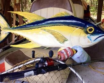 "Yellowfin Tuna 36""  nautical home decor wooden fish wall mount chainsaw carving Tuna sculpture beach house art indoor outdoor centerpiece"