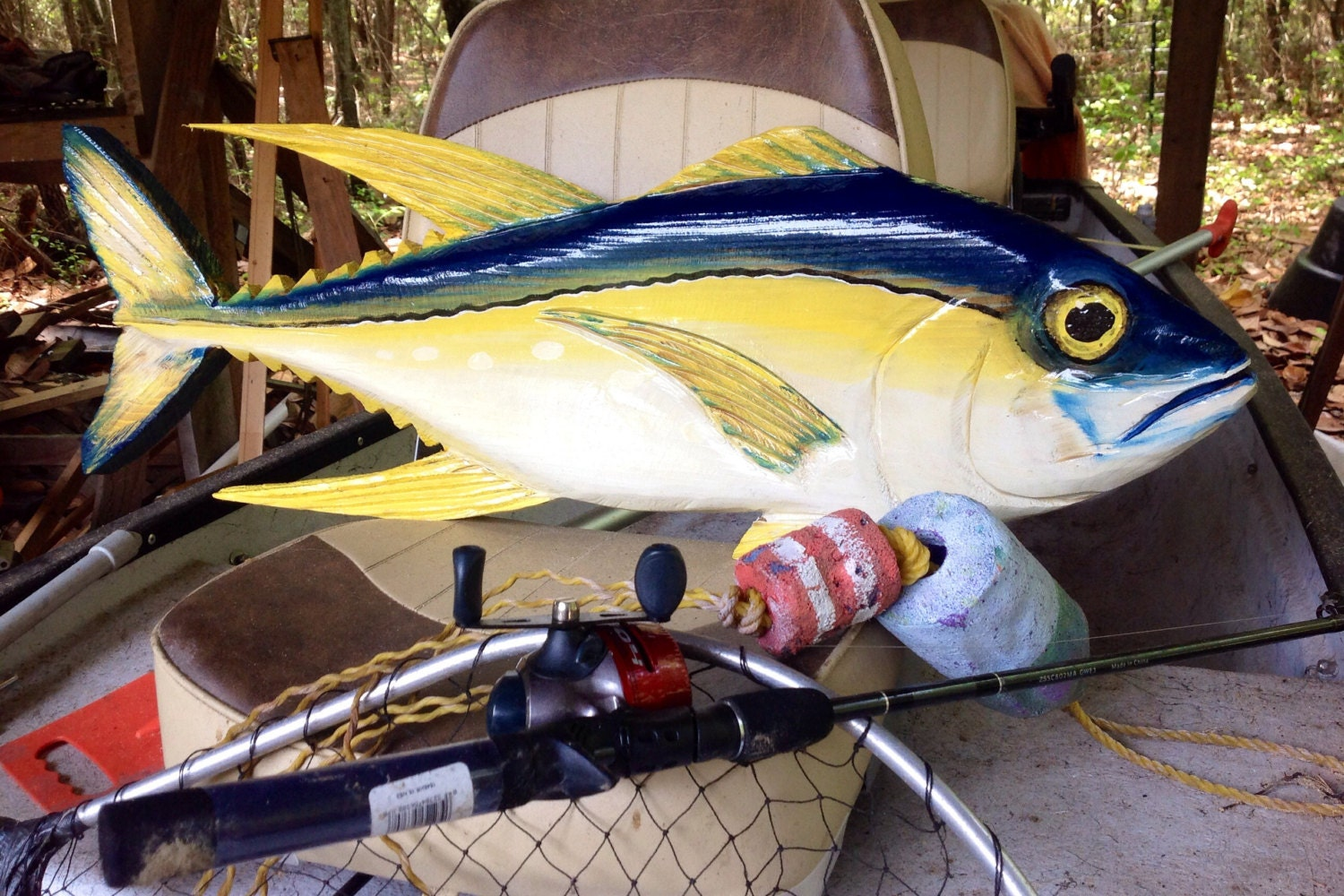 Yellowfin tuna 36 nautical home decor wooden fish wall for Fishing decorations for home