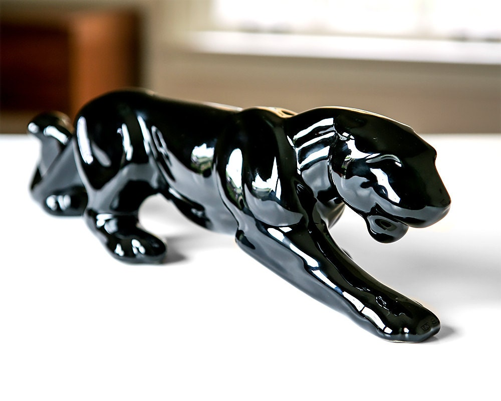 Royal Haeger Ceramic Black Panther Glaze Pottery Figurine Mid