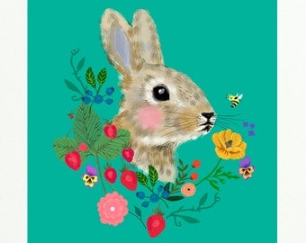 SPRING SALE- Rabbit with flowers and berries-art print