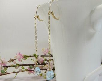 Blue Topaz Earrings, Delicate Blue Topaz Chain Earrings, Swiss Blue Topaz with 14KT Goldfill, Handmade Gemstone Earrings, Gemstone Earrings