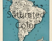 SOUTH AMERICA Map Digital Download vintage picture map- DIY print & frame 8x10 or for Pillows Totes Cards Wedding Paul Spener Johst Chile