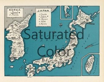 JAPAN KOREA Map Digital Download vintage picture map - DIY print & frame 8x10 orFor Pillows Totes Cards Wedding Paul Spener Johst Charming