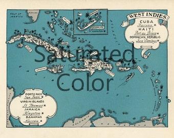 WEST INDIES Islands Map Digital Download vintage picture map - DIY print & frame 8x10 or for Pillows Totes Cards Wedding Paul Spener Johst