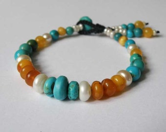 Turquoise bracelet - Freshwater Pearls - round Baltic Amber - Tasseled - macrame - Tribal - Boho - Beach - Gemstone bracelet - Handmade
