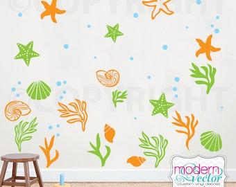Sea Shells Vinyl Wall Decal Ocean Decor Nautical Seaweed Starfish Stickers Kids Nursery