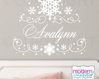 Frozen Snowflake Personalized Name Vinyl Wall Decal Girls Bedroom Decal, Girls Nursery Decal
