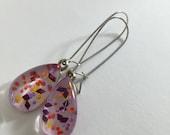 Purple and Orange Figment Glitter Nail Polish Dangle Earrings, Sparkly Confetti Pastel Teardrop Earrings, Drop Nail Polish Jewelry