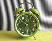 Vintage French JAZ Green Winding Alarm Clock