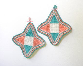 Vintage Crocheted Pot Holders Salmon, White and Tourquoise