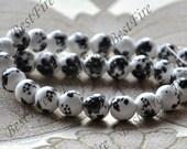 13inch 12mm Charm Gemstone Round White Porcelain Black Flower ,Chinese Charm porcelain Beads