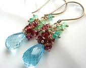 Blue Topaz Drop Earrings. Emerald and Garnet Cluster. Beadwork