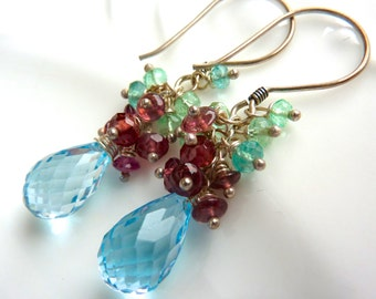 Blue Topaz Drop Earrings. Emerald and Garnet Cluster. Beadwork