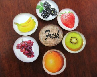 FRESH FRUiT GLASS Magnets Set of 7