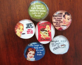 RETRO COFFEE DiVA Caffeine Queen Magnets Set of 6 Super Strong Magnets
